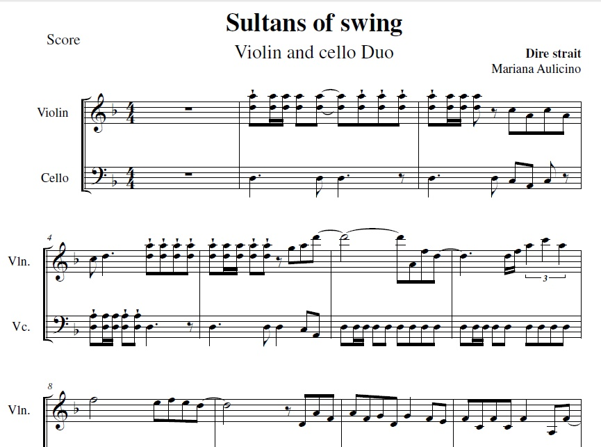 Sultans of Swing - Dire Strait - String Duet