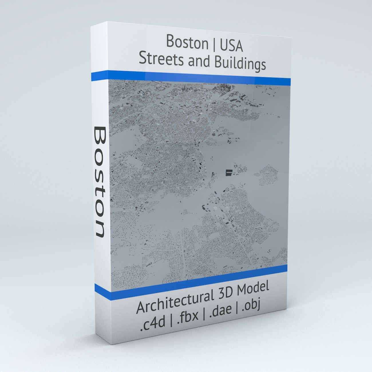 Boston Streets and Buildings Architectural 3D Model