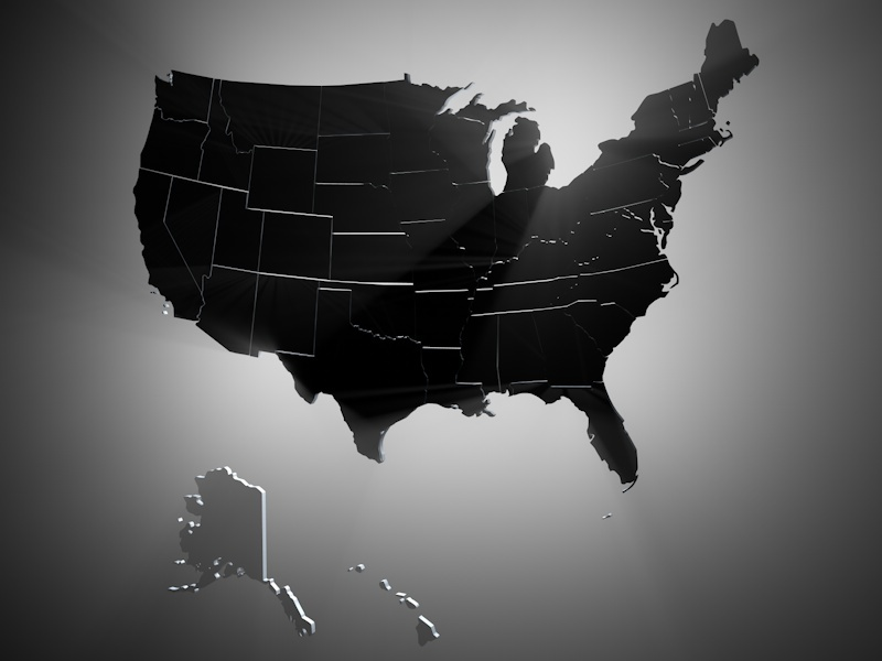 USA States Geographical 3D Model