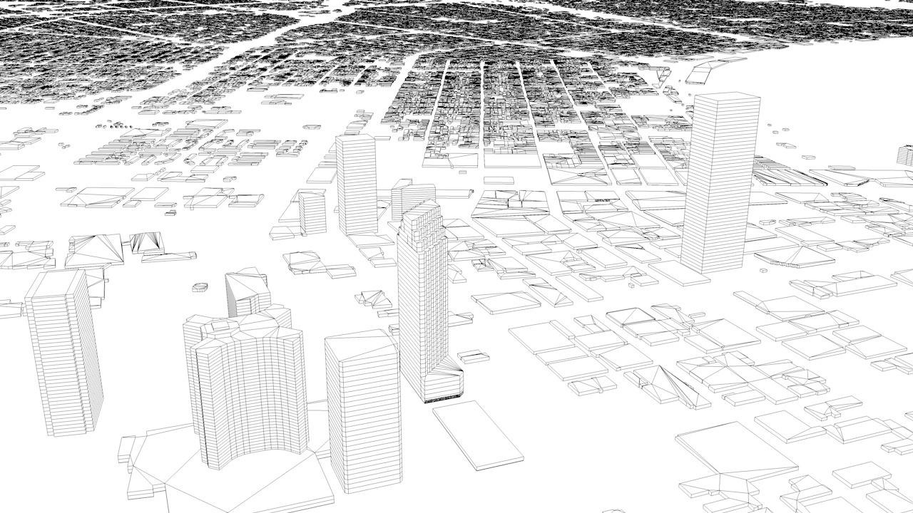 New Orleans Downtown Streets and Buildings Architectural 3D Model
