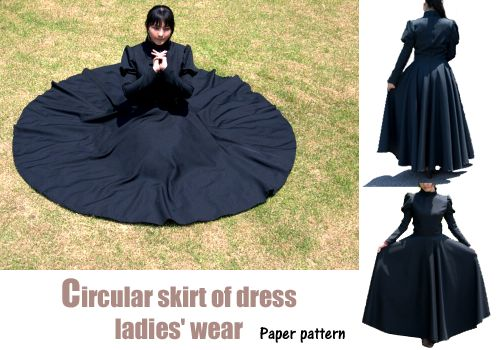 Circular skirt of dress (Paper pattern)