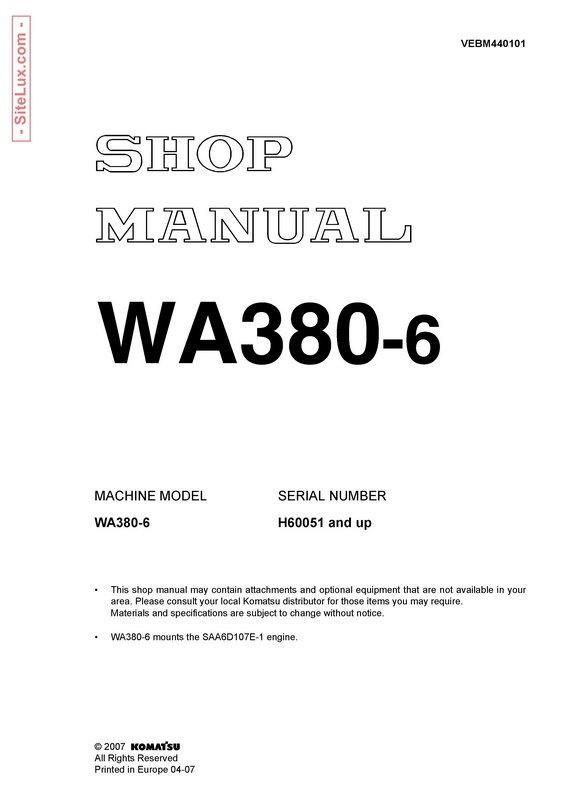 Komatsu WA380-6 Wheel Loader Shop Manual - VEBM440101