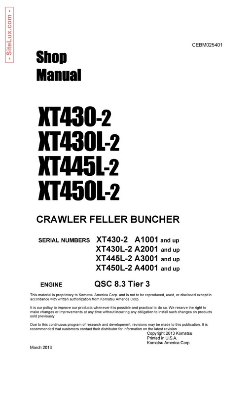 Komatsu XT430-2, XT430L-2, XT445L-2, XT450L-2 Crawler Feller Buncher Shop Manual - CEBM025401