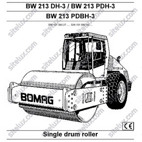 Bomag BW 213 DH-3/PDH-3/PDBH-3 Single Drum Roller Operation & Maintenance Instructions