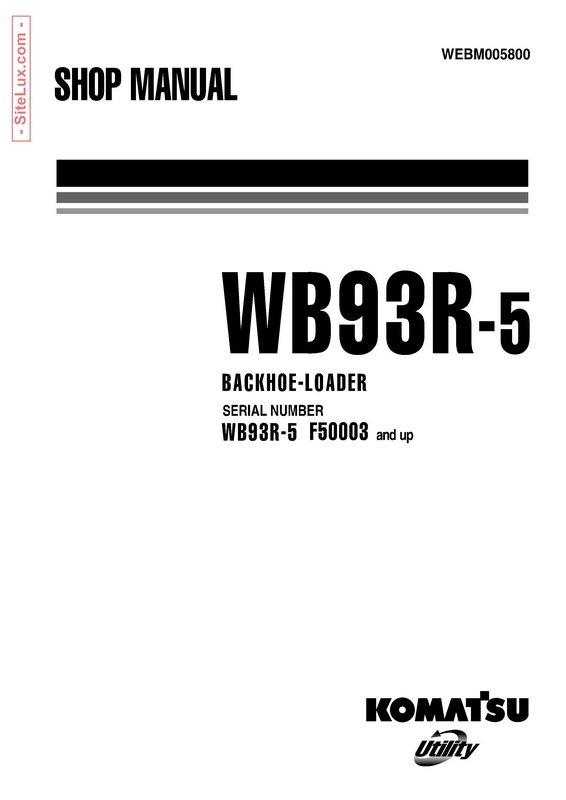 Komatsu WB93R-5 Backhoe Loader Shop Manual - WEBM005800