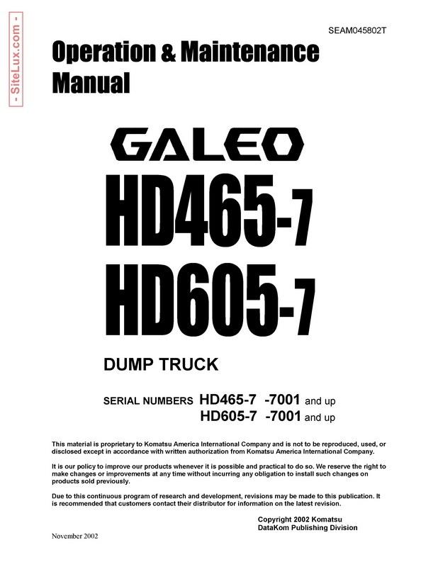 Komatsu HD465-7 & HD605-7 Galeo Dump Truck Operation & Maintenance Manual - SEAM045802T