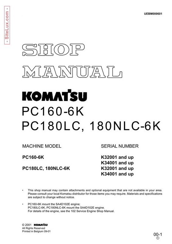 Komatsu PC160-6K, PC180LC-6K, 180NLC-6K Hydraulic Excavator Shop Manual - UEBM000601