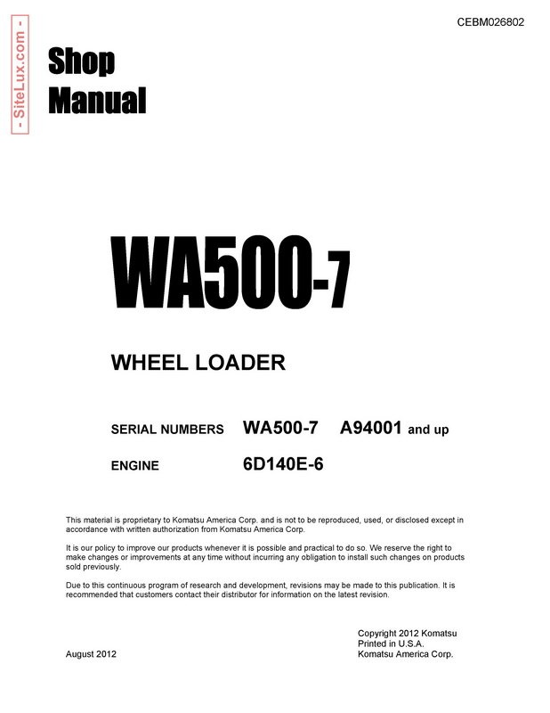 Komatsu WA500-7 Wheel Loader Shop Manual - CEBM026802