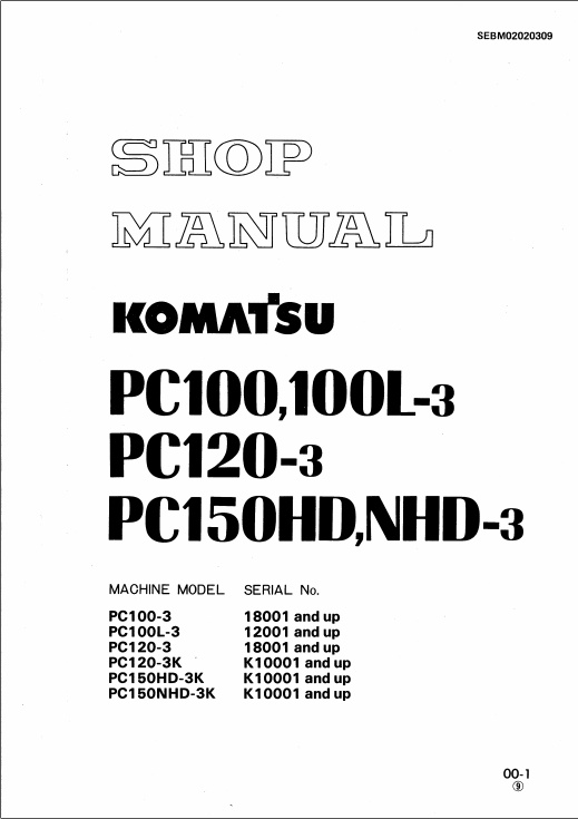 SHOP MANUAL PC100,100L-3, 120-3, 150HD,NHD-3