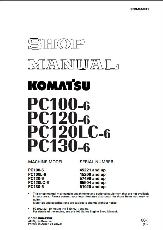 shop manual komatsu pc100-6, 120-6, 120LC-6, 130-6