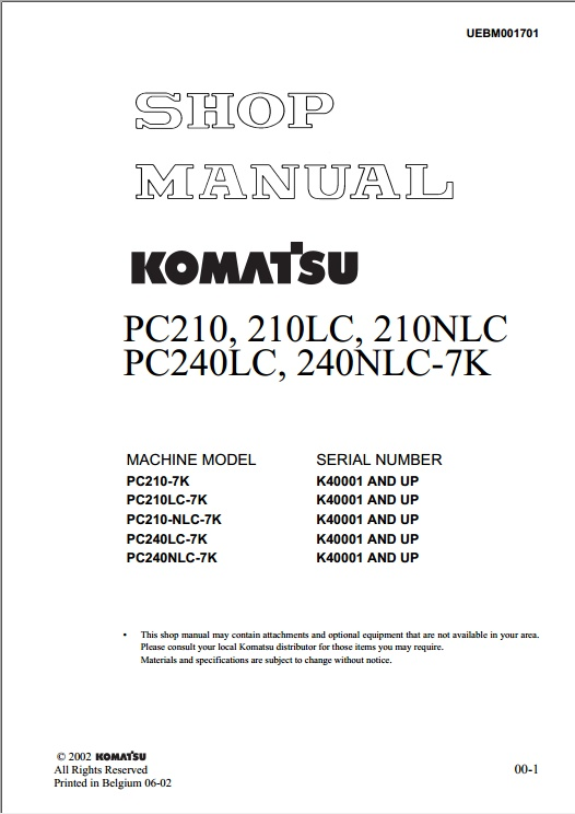 shop manual komatsu pc210,210LC,210NLC, PC240LC,240NLC-7K