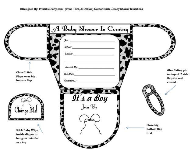 Grey Cow Diaper Boys Baby Shower Invites