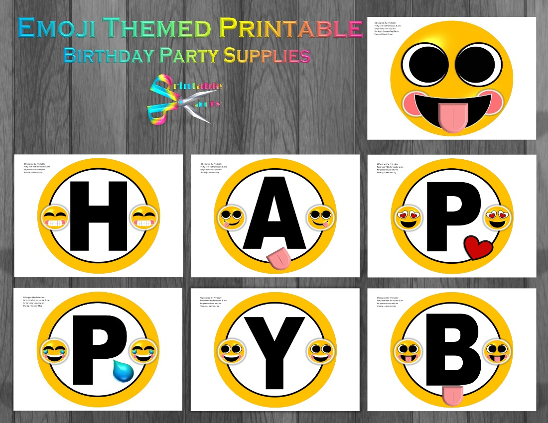 Emoji Yellow Printable Banner Letters