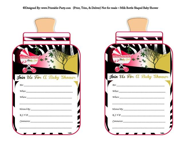 printable-hot-pink-black-zebra-carriage-stroller-girl-baby-bottle-shaped-baby-shower-invitations