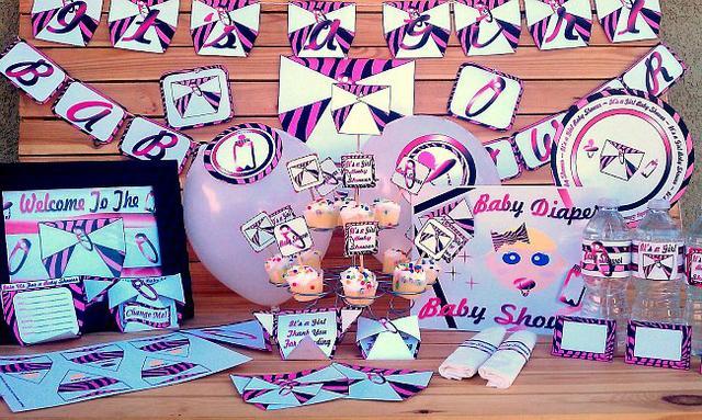 Pink Zebra Diaper Blue Eye Baby Shower Supplies