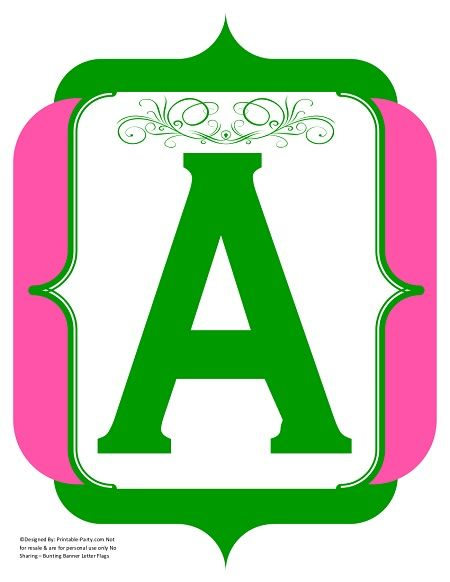 fancy-green-pink-printable-banners-letters-numbers