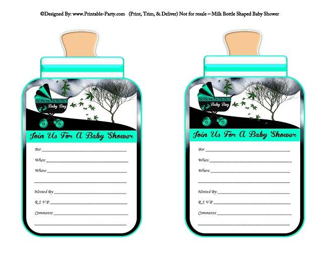 printable-aqua-black-carriage-stroller-boys-baby-bottle-shaped-baby-shower-invitations