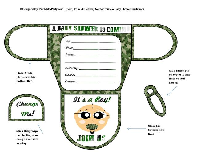 Army Vanilla Boy Diaper Baby Shower Invites