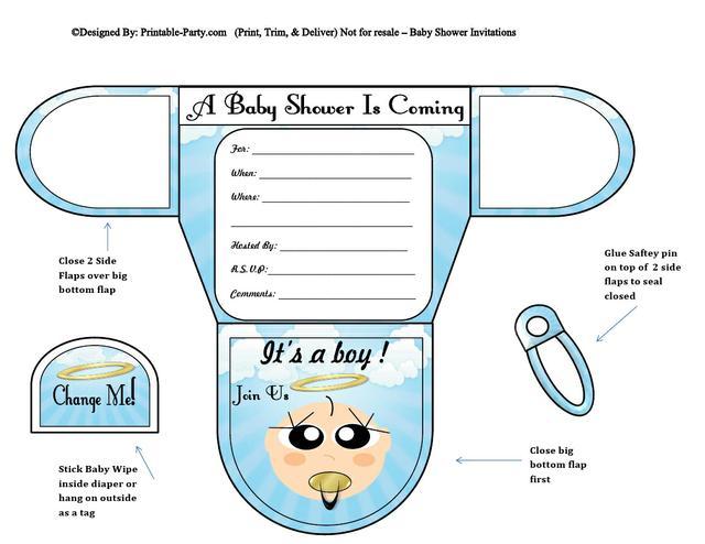 Angel Vanilla Boy Diaper baby Shower Invites