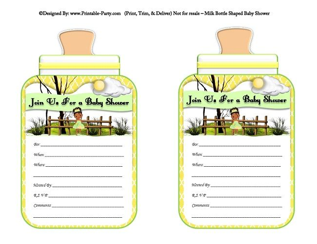 printable-yellow-princess-and-the-frog-milk-bottle-shaped-baby-shower-invitations