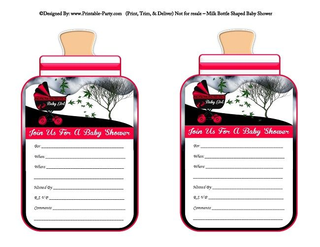 printable-violet-red-black-carriage-stroller-girl-baby-bottle-shaped-baby-shower-invitations