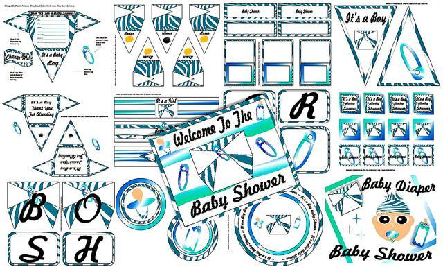 Blue Zebra Diaper Boys Baby Shower Printable Decorations