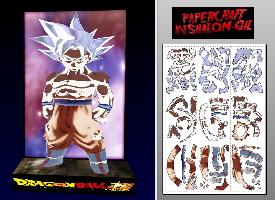 papercraft Chibi goku ultra instinct full power