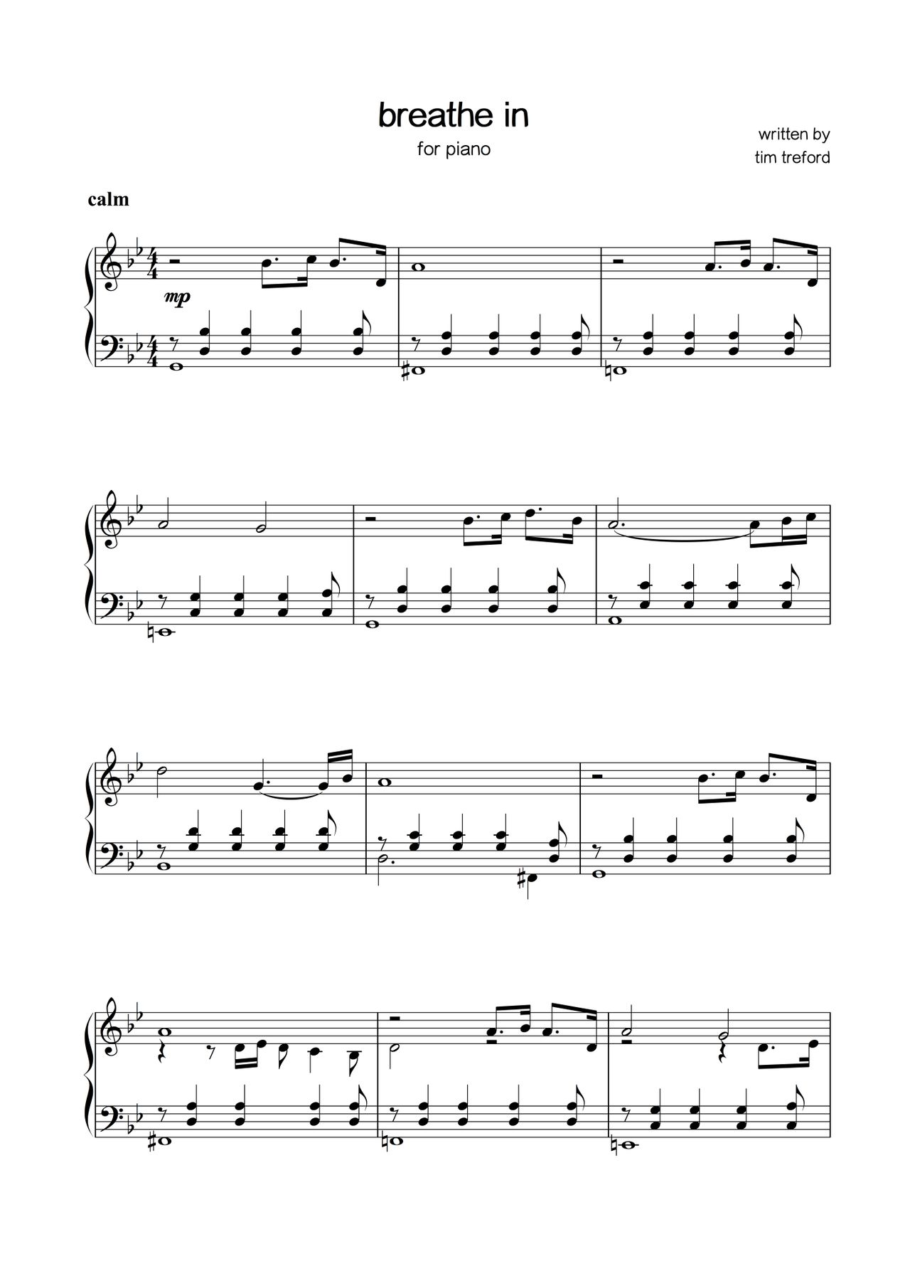 sheet music - tim treford - breathe in