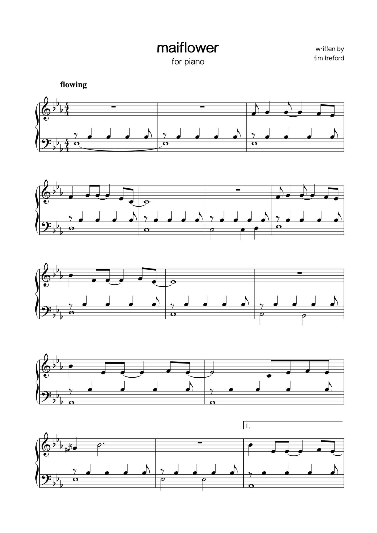 sheet music - tim treford - mayflower