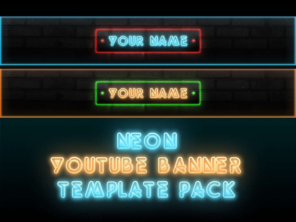 Neon YouTube Banner Template Pack