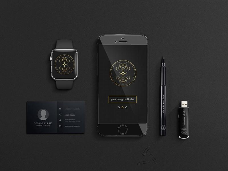 Business mockup PSD black corporate style