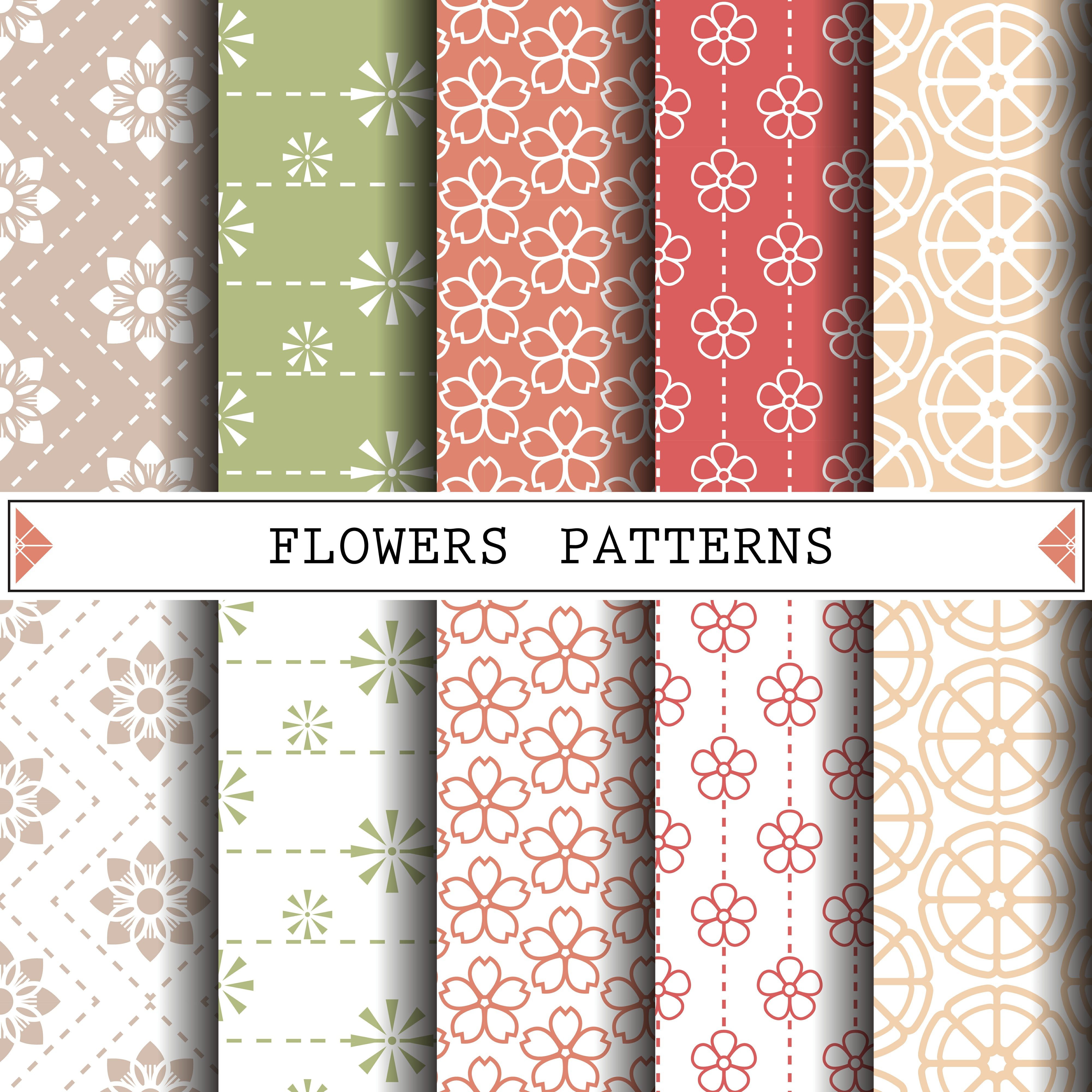 Abstract Seamless patterns flower Vector one