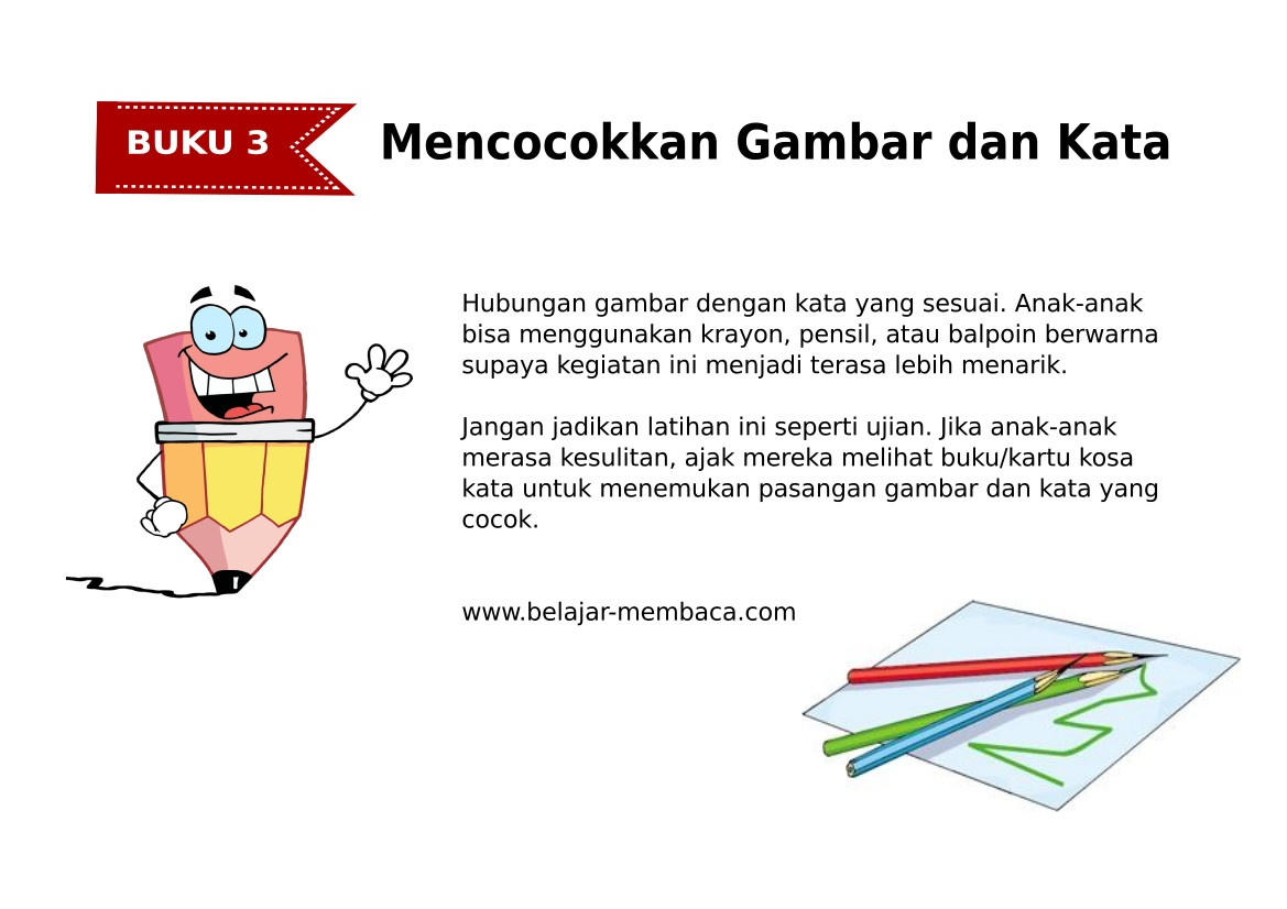 Mencocokkan Kata dan Gambar - Bahasa Indonesia (Buku 3)