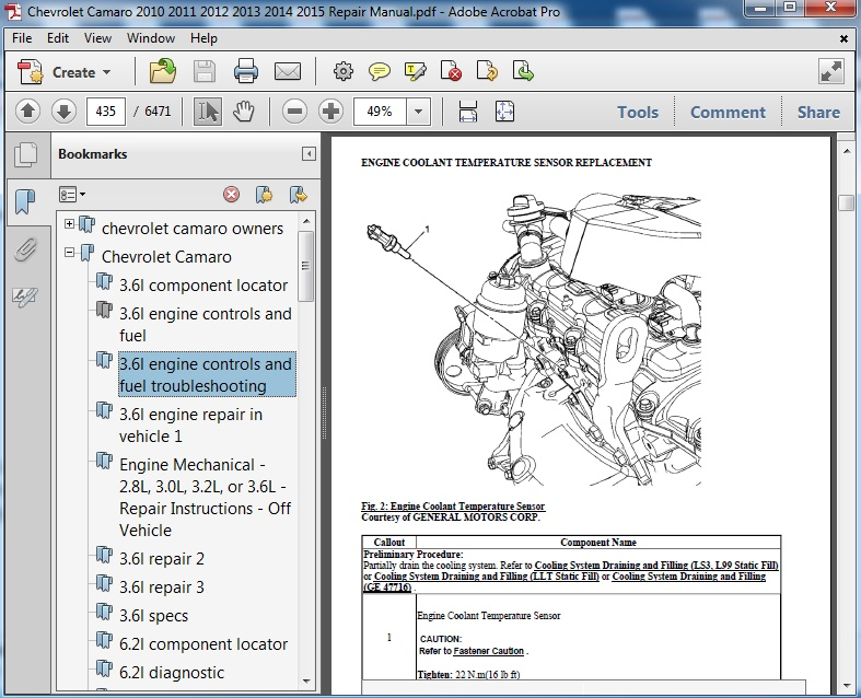 Chevrolet Camaro 2010 2011 2012 2013 2014 2015 Repair Servicemanualspdf