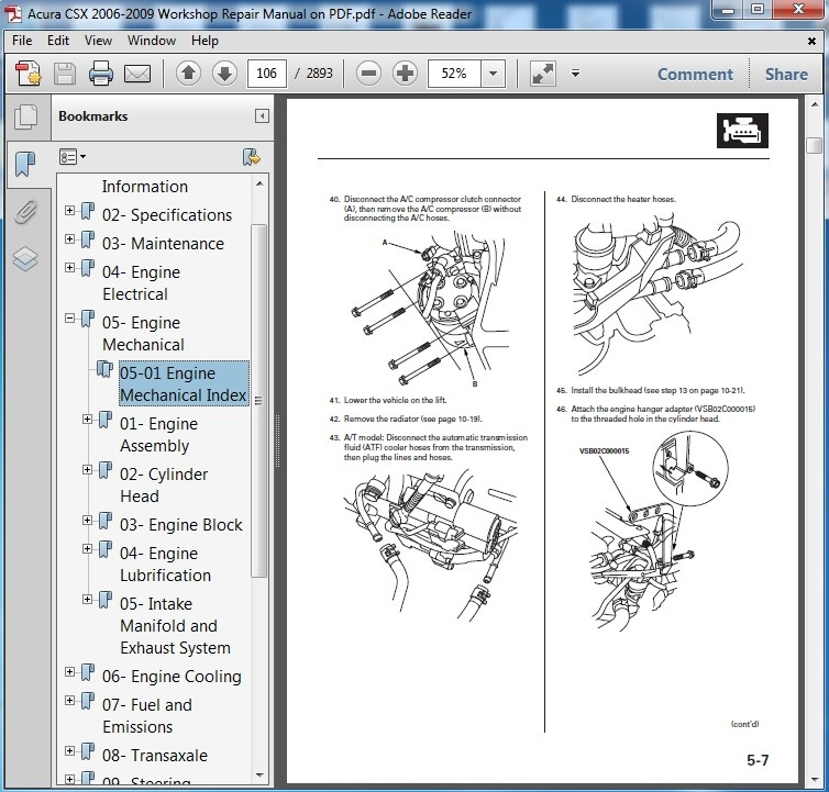 Acura CSX 2006 2007 2008 2009 Repair Manual On PDF