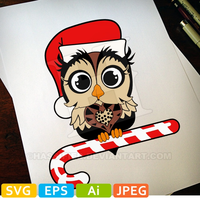 Christmas Owl in color - printable, vector, svg, art