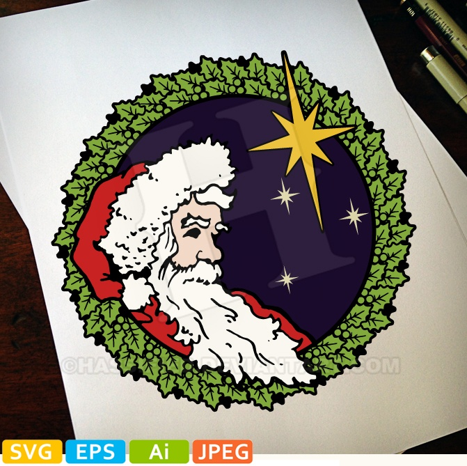 Santa, Peace and Joy in color