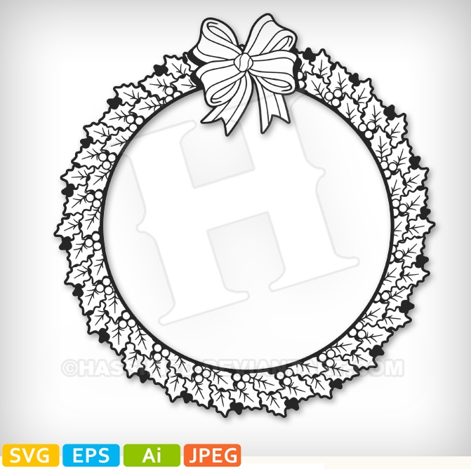 Christmas Wreath - printable, vector, svg, art
