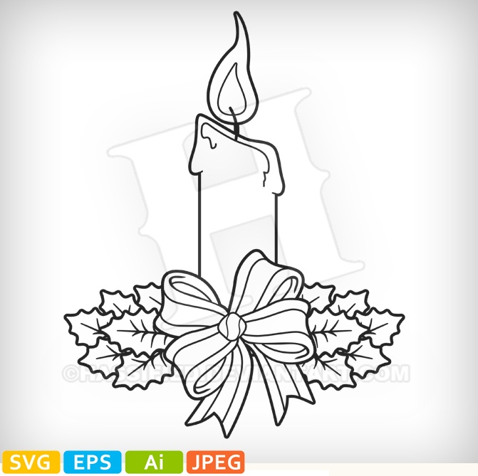 Christmas Candle - printable, vector, svg, art
