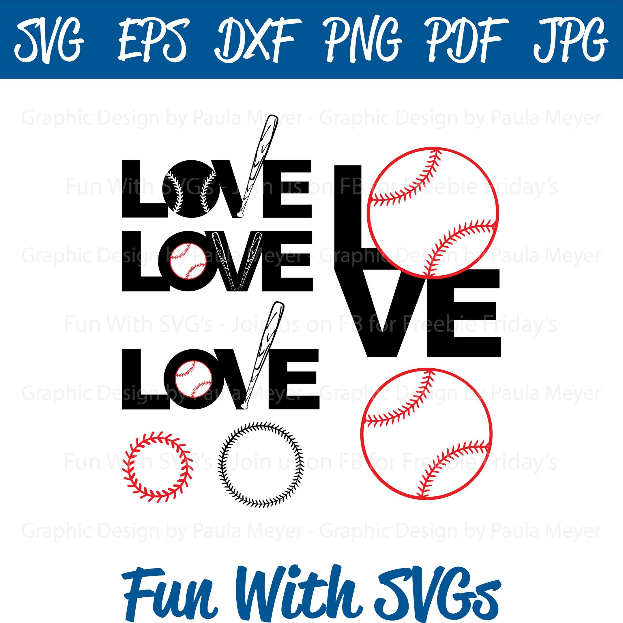 Love Baseball - SVG Cut File, High Resolution Printable Graphics and Editable Vector Art