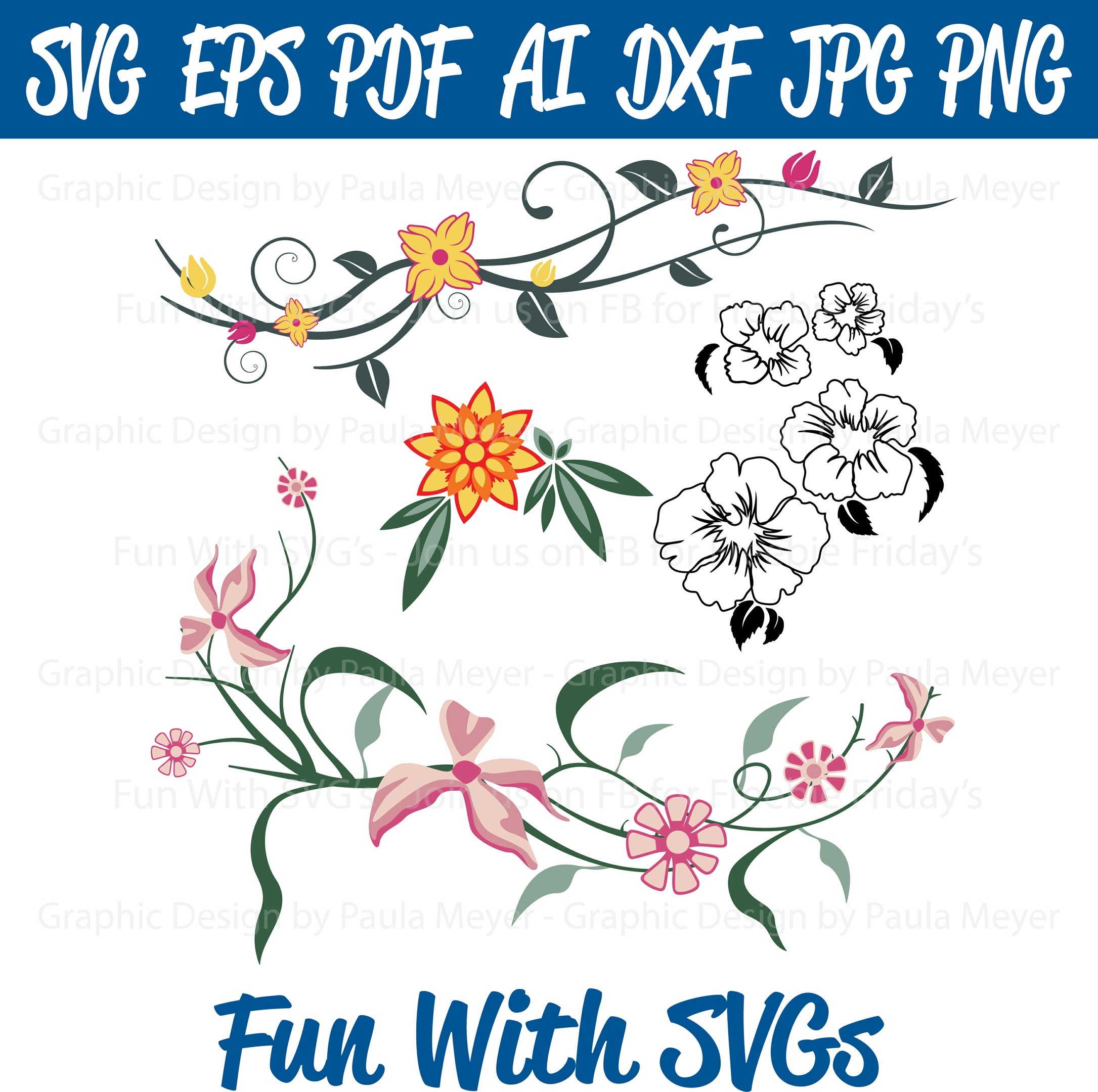 Spring Flower Collection - SVG Cut File, High Resolution Printable Graphics and Editable Vector Art