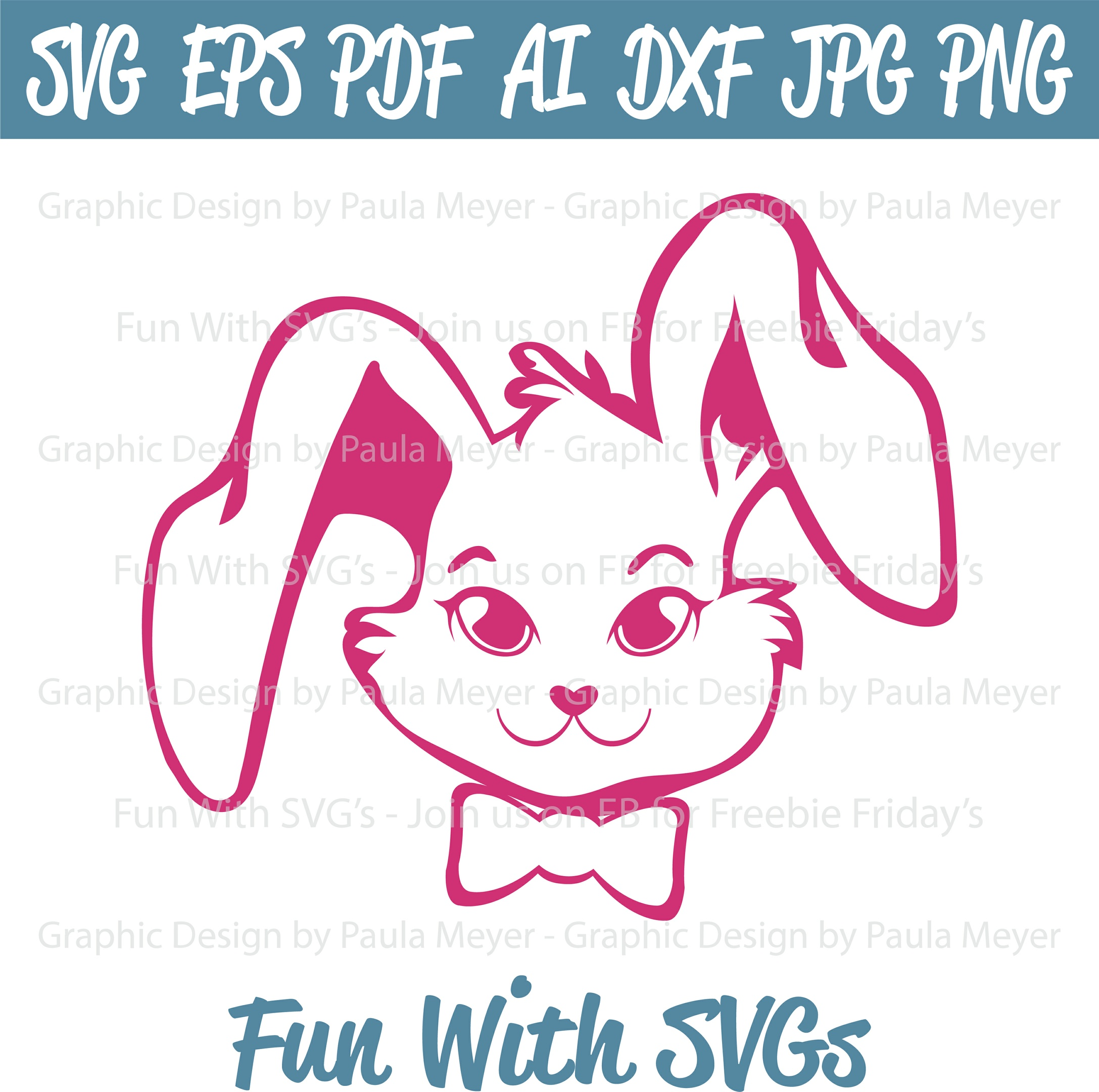 Spring Bunny - SVG Cut File, High Resolution Printable Graphics and Editable Vector Art