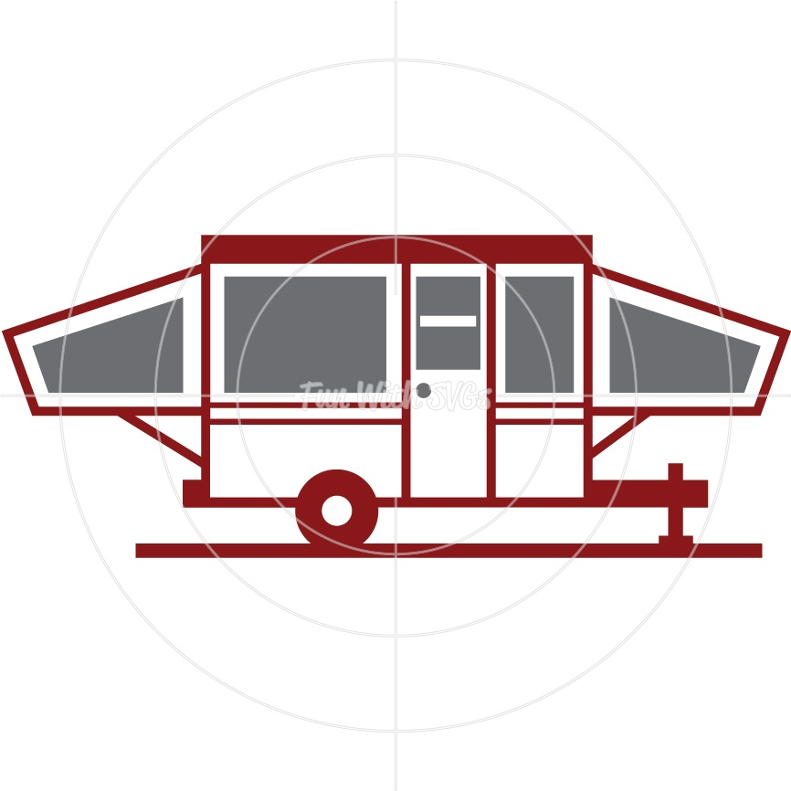 Pop-Up-Camper - SVG Cut File, High Resolution Printable Graphics and Editable Vector Art