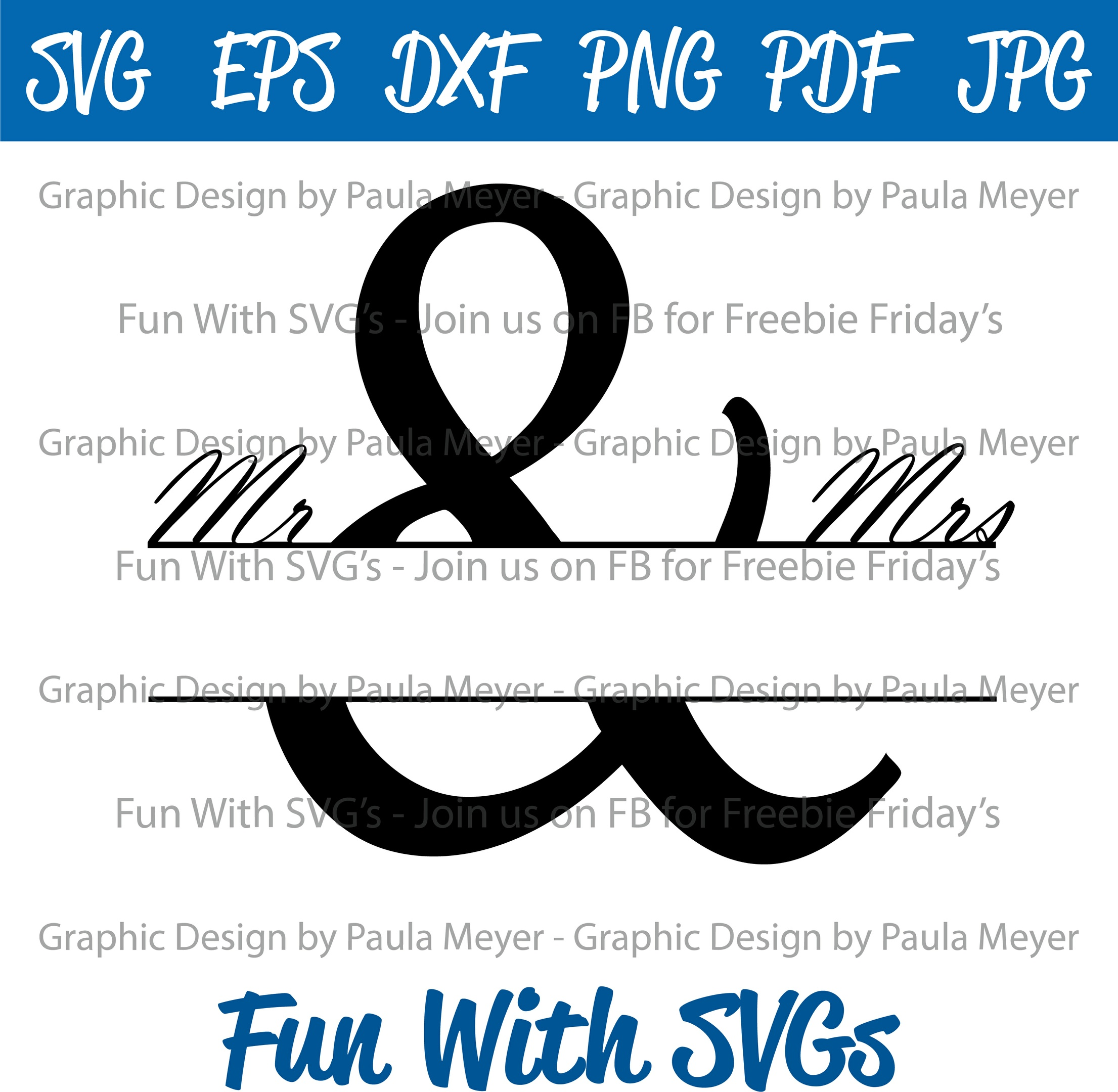 Mr. and Mrs. Monogram 2 - SVG Cut File, High Resolution Printable Graphics and Editable Vector Art