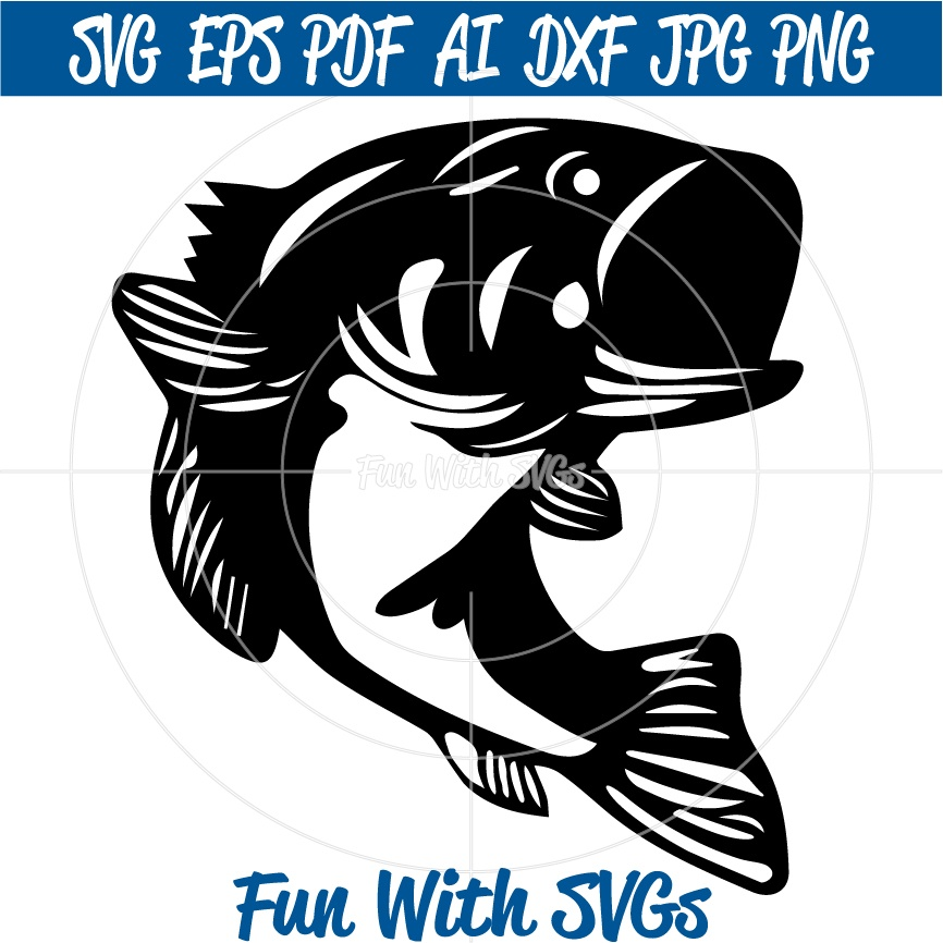 Large Mouth Bass - SVG Cut File, High Resolution Printable Graphics and Editable Vector Art