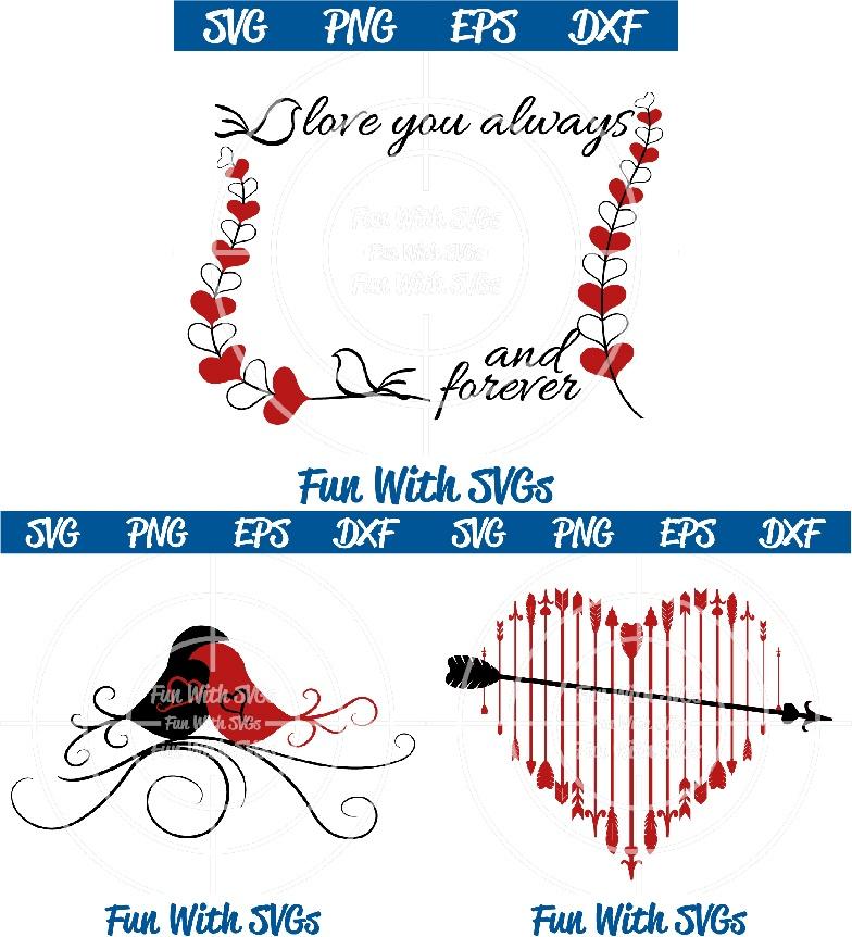 Valentine's Day SVG, Love Birds, Frame, Arrow Heart Mini Bundle