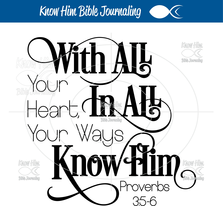 Proverbs 3:5-6, Bible Journaling Art, Bible Journaling Ideas and Printables, SVG Files