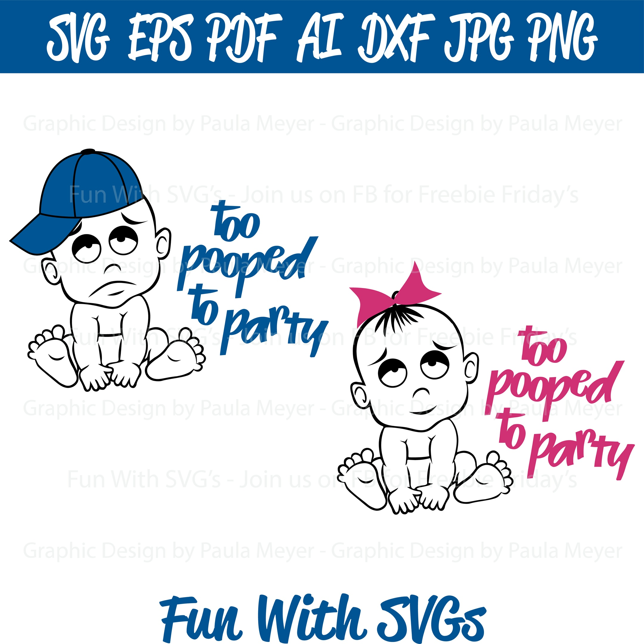 Too Pooped to Party - Twin Babies - SVG, High Res. Printable Graphics and Editable Vector Art