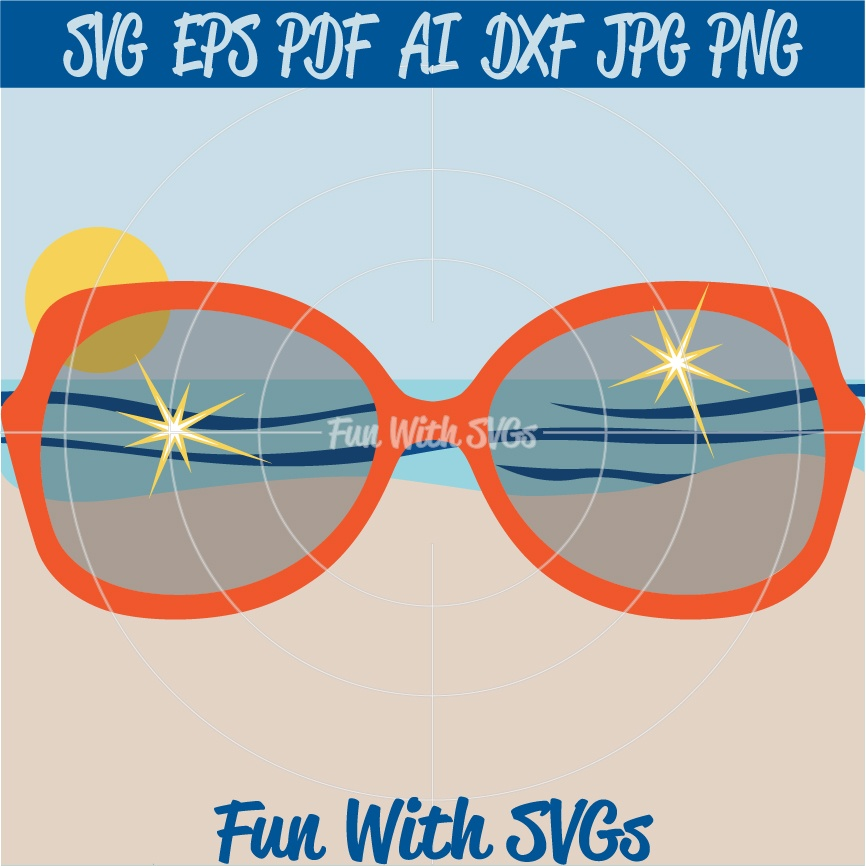 Sunset Glasses - SVG Cut File, High Resolution Printable Graphics and Editable Vector Art