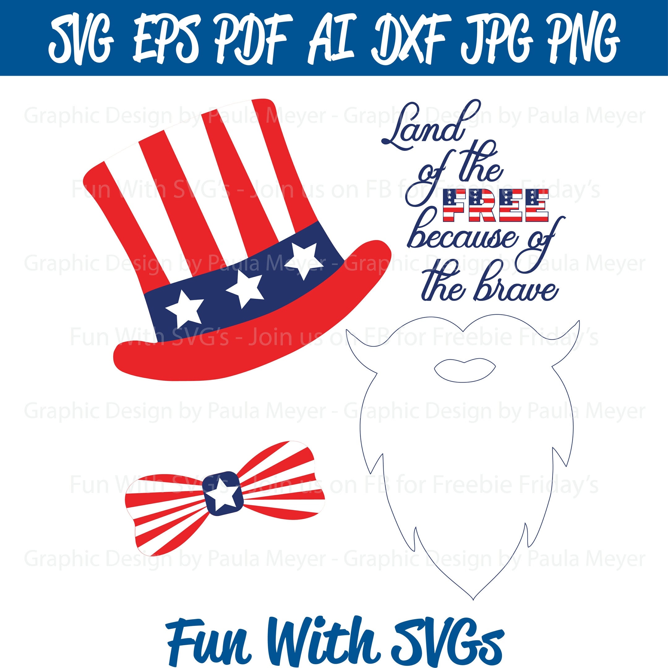 Uncle Sam Photo Booth Props - SVG Cut File, High Res. Printable Graphics and Editable Vector Art